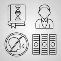 conjunto de ícones de design plano de linha fina de biblioteca vetor