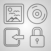 conjunto de ilustração de ícones multimídia isolado no fundo branco vetor
