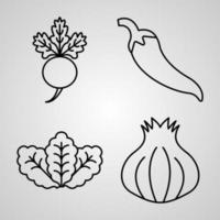 fundo de cor branca coleção ícone vegetal vetor