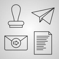 conjunto de ícones de linha de vetor de correios
