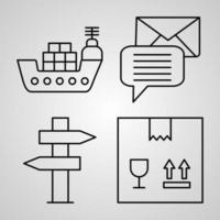 conjunto de ícones simples de ícones de linhas relacionadas aos correios vetor