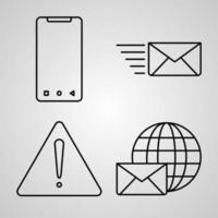 conjunto de ícones de design plano de linha fina de correios vetor