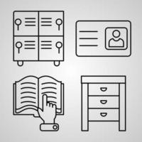 conjunto simples de ícones de linha de vetor de biblioteca