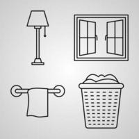 coleção de símbolos de hotel em estilo de contorno vetor
