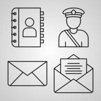 conjunto de ícones de correios ilustração vetorial eps vetor