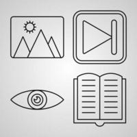 conjunto de ícones simples de elementos básicos ícones de linha relacionados vetor
