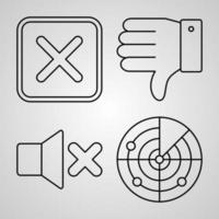 conjunto de ícones de design plano de linhas finas de elementos básicos vetor