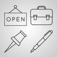 ícones de linha de correios isolados em símbolos de contorno branco correios vetor