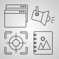 símbolo de elementos básicos em fundo branco ícones de contorno de elementos básicos vetor
