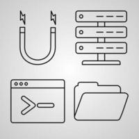 ícones de linha de elementos básicos definidos em símbolos de contorno branco elementos básicos vetor