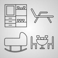 conjunto de ícones de linha de hotel isolado em símbolos de contorno branco hotel vetor