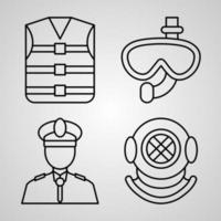 conjunto simples de ícones de linha de vetor de marinheiro