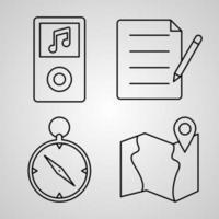 conjunto de ícones de linha de elementos básicos de símbolo vetorial em estilo de contorno moderno vetor
