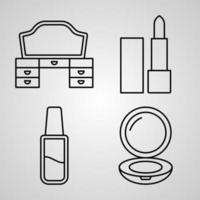 conjunto de ícones de linha de vetor de beleza e cosméticos