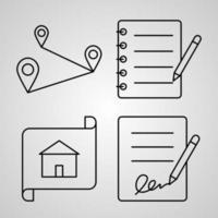 conjunto de ícones de linha de vetor de elementos básicos