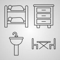 conjunto de ícones de linha de hotel de símbolo vetorial em estilo de contorno moderno vetor
