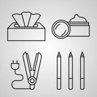 conjunto de ícones simples de ícones de linha relacionados a beleza e cosméticos vetor