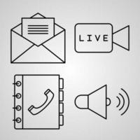 ícone de comunicação coleção cor branca fundo vetor