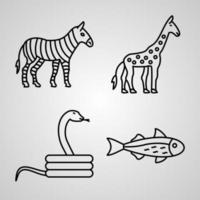 conjunto de ícones simples de ícones de linha relacionados a animais vetor