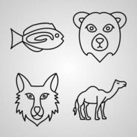 coleção de símbolos de animais em estilo de contorno vetor