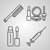 conjunto simples de ícones de linha de vetor de beleza e cosméticos