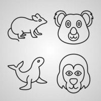 coleção de símbolos de animais em fundo branco ícones de contorno de animais vetor