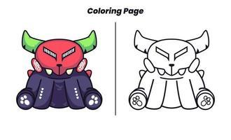 monstro sentado usando uma máscara com página para colorir vetor
