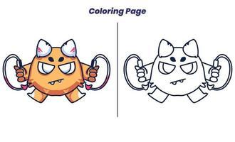 monstro fofo com páginas para colorir vetor
