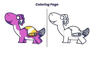 Robô de dinossauro fofo com páginas para colorir vetor