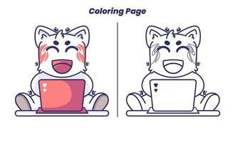 gato trabalhando com laptop com página para colorir vetor