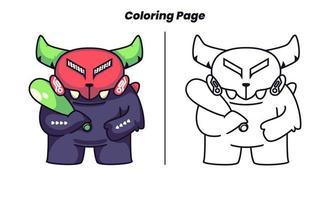 monstro usando taco de bola com página para colorir vetor