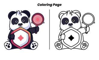 panda fofo com páginas para colorir adequadas para crianças vetor
