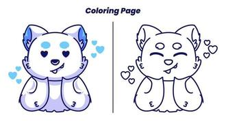 Amor de gato fofo com páginas para colorir adequadas para crianças vetor