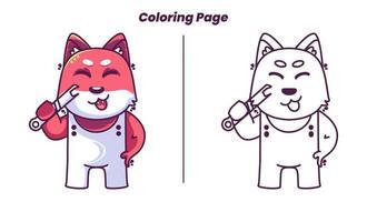 Raposa mecânica fofa com páginas para colorir adequadas para crianças vetor