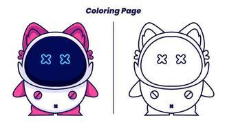 gato robô com páginas para colorir adequadas para crianças vetor