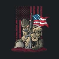 soldado ajoelhando-se para o vetor de ilustração caído