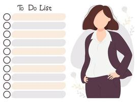 menina empresária olha para lista de tarefas vetor
