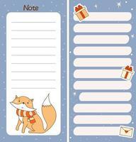 conjunto de planejador semanal ou diário, papel de nota, lista de tarefas com a raposa do inverno vetor