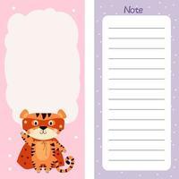 planejador semanal ou diário, papel de nota com tigre fofo em manto vermelho vetor