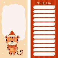 conjunto de planejador semanal ou diário, papel de nota, lista de tarefas com tigre fofo vetor