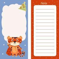 planejador, papel de anotação, feliz natal com um tigre fofo em uma capa vermelha vetor