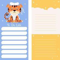 planejador, papel de nota, lista de tarefas, modelos de adesivos com marinheiro tigre vetor