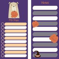 organizador de planejador de outono com urso fofo com abóbora para o dia das bruxas vetor