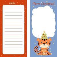 planejador, papel de nota, lista de tarefas, feliz natal, decorado com tigre vetor