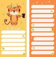 diário, papel de nota, lista de tarefas com o tigre de outono vetor