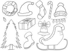 mão desenhada coleção de ilustração vetorial de coisas de natal isolada vetor