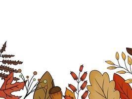 folhas de árvores diferentes desenhadas à mão com fundo branco vetor