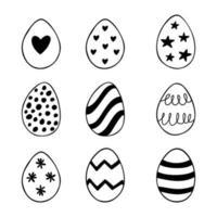 Páscoa conjunto de ilustrações de ovos de doodle isolado no fundo branco. vetor