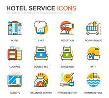 Conjunto simples de ícones de linha de serviços de Hotel para o site e aplicativos móveis vetor