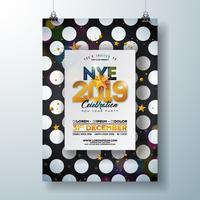 Cartaz da celebração do partido do ano 2019 novo